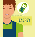 young man charged battery energy clean vector image