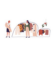 young woman choosing fashion apparel with help of vector image vector image