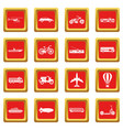 transportation icons set red vector image