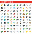 100 spy icons set isometric 3d style vector image