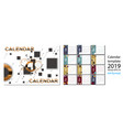 2019 new year calendar with simle geometric vector image vector image