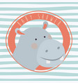 baby shower card with cute hippo vector image vector image