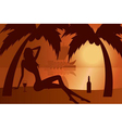 beautiful woman silhouette on a beach vector image