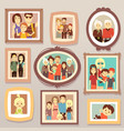 big family smiling photo portraits in frames on vector image vector image