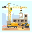 Building house construction flat design concept vector image vector image