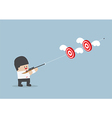 Businessman shoot two targets with one bullet vector image vector image