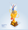 businessman standing on top trophy cup vector image