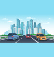 cars on highway to town city road perspective vector image