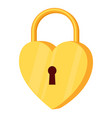 cartoon golden heart padlock vector image