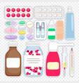 cartoon medicines and pills vector image vector image
