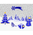 christmas and new year decoration winter vector image vector image