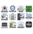 cloud storage internet data security icons vector image vector image