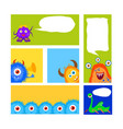 collection monsters party banner cartoon style vector image vector image
