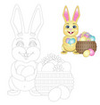 coloring page easter bunny with a basket of vector image vector image