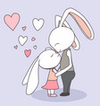 couple bunny feeling in love greeting card vector image vector image