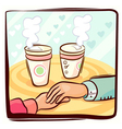 couple hand and coffee vector image vector image