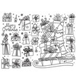 doodle set of christmas presents vector image vector image