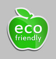 eco friendly logo in green apple vector image vector image