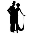 elegant silhouettes couple wearing retro style vector image vector image