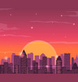 Evening city skyline Buildings silhouette vector image