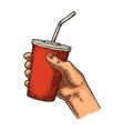 female hand holding paper red cup cola with straws vector image vector image