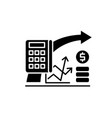 financial planning black icon sign on vector image vector image