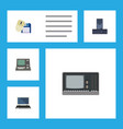flat icon laptop set of notebook processor vector image vector image