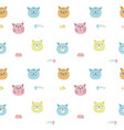 funny cats seamless pattern vector image vector image