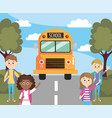 girls and boys students waiting school bus vector image