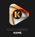 golden letter k logo in golden-silver triangle vector image vector image