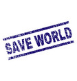 grunge textured save world stamp seal vector image vector image