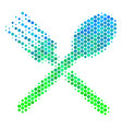 halftone blue-green fork and spoon icon vector image vector image