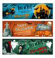 halloween horror party banner for october holiday vector image vector image