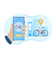 hand is holding smartphone with bike sharing vector image