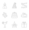 Holiday birthday icons set outline style vector image vector image