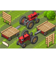 Isometric Red Farm Tractor in Two Positions vector image vector image