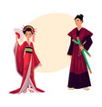japanese geisha and samurai in traditional kimono vector image vector image