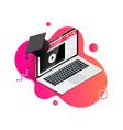 laptop with graduation cap fluid vector image vector image