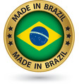 Made in Brazil gold label vector image vector image