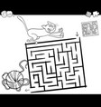 maze with cat and wool coloring page vector image vector image