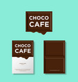 melted chocolate piece letters cafe sweets vector image vector image