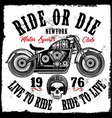 motorcycle club vintage skull tee graphic design vector image
