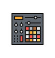 music console audio mixer flat color line icon vector image vector image