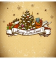 New Year Greeting Card with Christmas tree vector image vector image