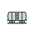 oil tank on rails cargo wagon flat color line vector image vector image