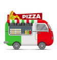 pizza street food caravan trailer vector image vector image
