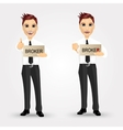 portrait of two businessmen holding a sign vector image vector image