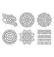 set circle lace ornament round ornamental vector image vector image