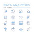 set color line icons data analytics vector image vector image