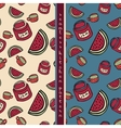 set of food seamless pattern vector image